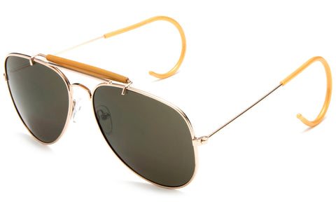 Aviator Inspired Wrap Around Gold Metal Frame Driving Sunglasses with UV Protected Solid Green Lens.