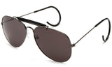 Aviator Inspired Wrap Around Gunmetal Frame Driving Sunglasses with UV Protected Solid Smoke Lens.