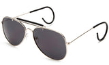 Aviator Inspired Wrap Around Silver Metal Frame Driving Sunglasses with UV Protected Solid Smoke Lens.