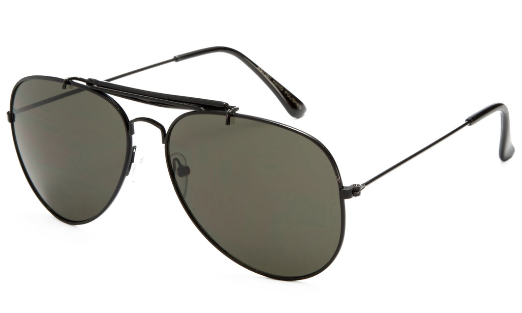 Premium Aviator Inspired Wrap Around Black Metal Frame Driving Sunglasses with UV 400 Protected Polarized Solid Green Lens.