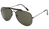 Classic Aviator Inspired Wrap Around Black Metal Frame Driving Sunglasses with UV 400 Protected Solid Green Lens.