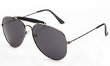 Classic Aviator Inspired Wrap Around Gunmetal Frame Driving Sunglasses with UV 400 Protected Solid Smoke Lens.
