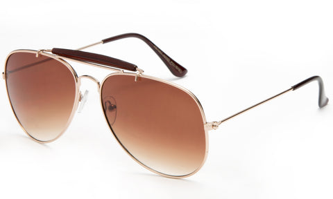 Classic Aviator Inspired Wrap Around Gold Metal Frame Driving Sunglasses with UV 400 Protected Gradient Brown Lens.