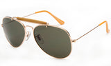 Classic Aviator Inspired Wrap Around Gold Metal Frame Driving Sunglasses with UV 400 Protected Solid Green Lens.