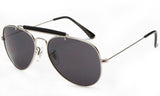 Classic Aviator Inspired Wrap Around Silver Metal Frame Driving Sunglasses with UV 400 Protected Solid Smoke Lens.
