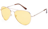 Classic Pilot Aviator Driving Metal Gold Frame Sunglasses with Premium Polarized Yellow Lens for Maximum UV Protection.