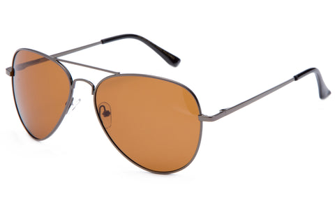 Classic Pilot Aviator Driving Gunmetal Frame Sunglasses with Premium Polarized Amber Lens for Maximum UV Protection, Perfect for Driving at Night.