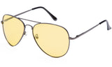 Classic Pilot Aviator Driving Gunmetal Frame Sunglasses with Premium Polarized Yellow Lens for Maximum UV Protection.