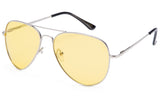 Classic Pilot Aviator Driving Metal Silver Frame Sunglasses with Premium Polarized Yellow Lens for Maximum UV Protection.