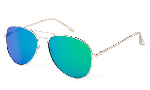 Classic Pilot Aviator Inspired Driving Metal Gold Frame Sunglasses with UV 400 Protected Green Flash Lens.