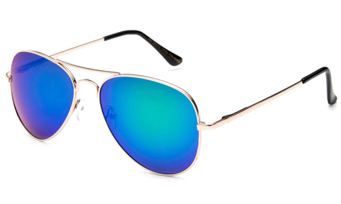 Classic Pilot Aviator Inspired Metal Gold Frame Sunglasses with UV 400 Protected Green Flash Lens.