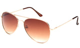 metal aviator sunglasses UV400 gradient brown