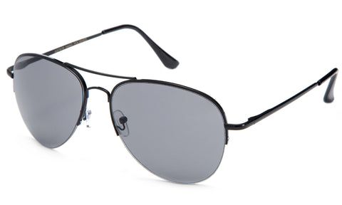 Classic Aviator Inspired Design Black Metal Half Frame Sunglasses with UV 400 Protected Solid Smoke Lens.