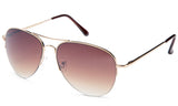 Classic Aviator Inspired Design Gold Metal Half Frame Sunglasses with UV 400 Protected Gradient Brown Lens.