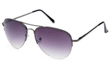 Classic Aviator Inspired Design Gunmetal Half Frame Sunglasses with UV 400 Protected Gradient Purple Lens.