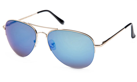 Classic Aviator Inspired Design Metal Half Frame Sunglasses with UV 400 Protected Blue Flash Lens.