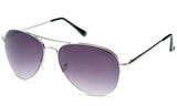 Classic Aviator Inspired Design Silver Metal Half Frame Sunglasses with UV 400 Protected Gradient Purple Lens.