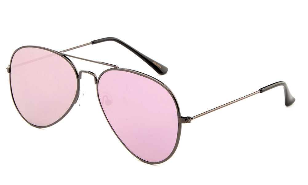 Classic Flat Lens Pilot Aviator Inspired Gunmetal Frame Sunglasses with UV 400 Protected Pink Mirror Flash Lens.