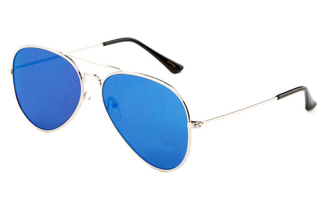 Classic Flat Lens Pilot Aviator Inspired Metal Silver Frame Sunglasses with UV 400 Protected Blue Mirror Flash Lens.