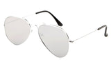 Classic Flat Lens Pilot Aviator Inspired Metal Silver Frame Sunglasses with UV 400 Protected Mirror Flash Lens.