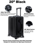 "20"" Aluminum Luggage Carry-On (Black)"