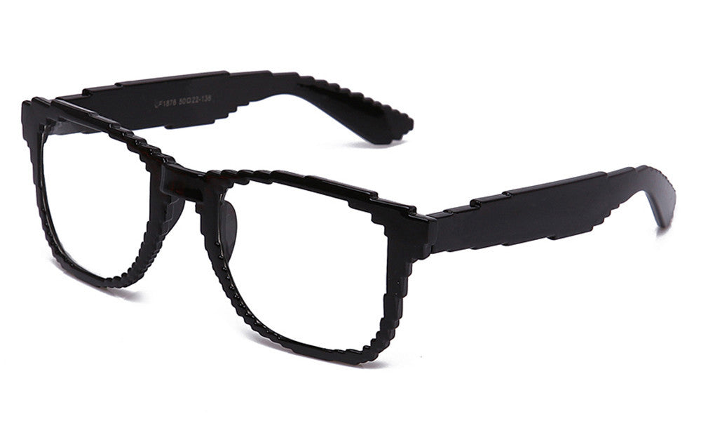 black retro 8 bit glasses