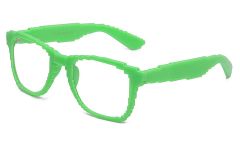 green retro 8 bit glasses
