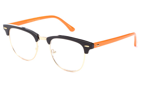 Newbee Fashion-Vintage Classic Half Frame Slim Frame Clear Lens Glasses Non Prescription Glasses Frame Men & Women