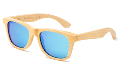 light bamboo wood blue mirror flash sunglasses