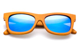 Dark Bamboo Horned Rim Wayfarer Frame Sunglasses with Blue Flash Lens
