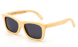 Light Bamboo Horned Rim Wayfarer Frame Sunglasses with Smoke Lens