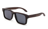 Squared Wayfarer Horned Rim Dark Bamboo Frame with Smoke Lens.