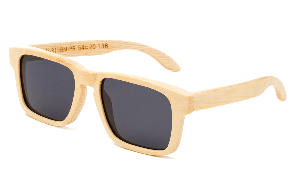 Squared Wayfarer Horned Rim Light Bamboo Frame with Smoke Lens.