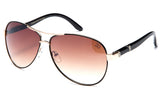 Trendy Modern Aviator Inspired Gold Metal Frame and Black Temple Sunglasses with UV 400 Protected Gradient Brown Lens.