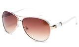Trendy Modern Aviator Inspired Gold Metal Frame and White Temple Sunglasses with UV 400 Protected Gradient Brown Lens.