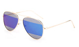 Modern Aviator Inspired Gold Metal Frame Sunglasses with Two Tone UV 400 Protected Blue Flash Lens.