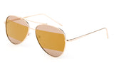 Modern Aviator Inspired Gold Metal Frame Sunglasses with Two Tone UV 400 Protected Brown Flash Lens.