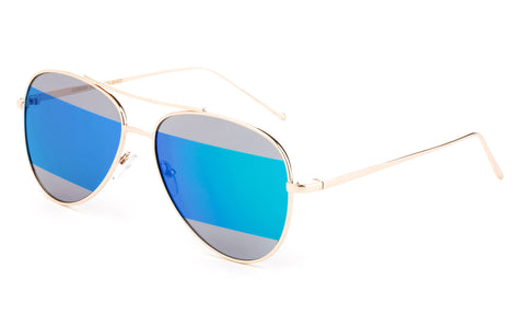 Modern Aviator Inspired Gold Metal Frame Sunglasses with Two Tone UV 400 Protected Green Flash Lens.