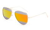 Modern Aviator Inspired Gold Metal Frame Sunglasses with Two Tone UV 400 Protected Orange Flash Lens.