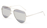 Modern Aviator Inspired Silver Metal Frame Sunglasses with Two Tone UV 400 Protected Mirror Flash Lens.