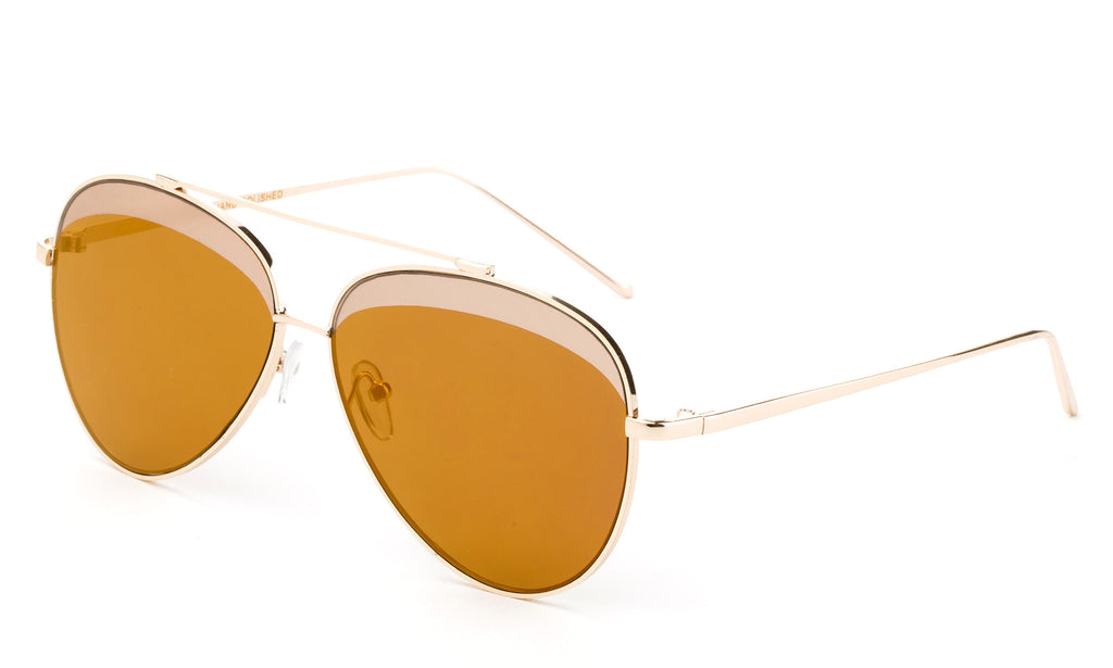 Premium Aviator Inspired Gold Metal Framed Sunglasses with Double Color UV400 Protected Brown Flash Lens.