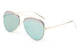 Premium Aviator Inspired Gold Metal Framed Sunglasses with Double Color UV400 Protected Light Green Flash Lens.