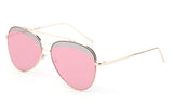 Premium Aviator Inspired Gold Metal Framed Sunglasses with Double Color UV400 Protected Pink Flash Lens.