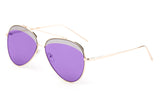 Premium Aviator Inspired Gold Metal Framed Sunglasses with Double Color UV400 Protected Purple Flash Lens.