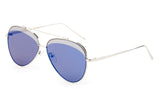 Premium Aviator Inspired Silver Metal Framed Sunglasses with Double Color UV400 Protected Blue Flash Lens.