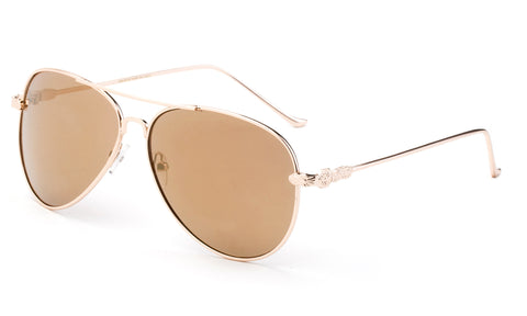 Classic Aviator Sunglasses with Gold Metal Frame and Light Brown Flash Lens