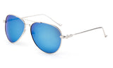 Classic Aviator Sunglasses with Silver Metal Frame and Blue Flash Lens