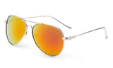 Classic Aviator Sunglasses with Silver Metal Frame and Orange Flash Lens