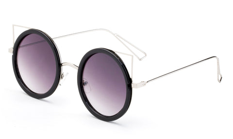 Premium Round Frame Cat Eye Circular Design Sunglasses with UV400 Protected Gradient Purple Lens and Silver Metal Temples.