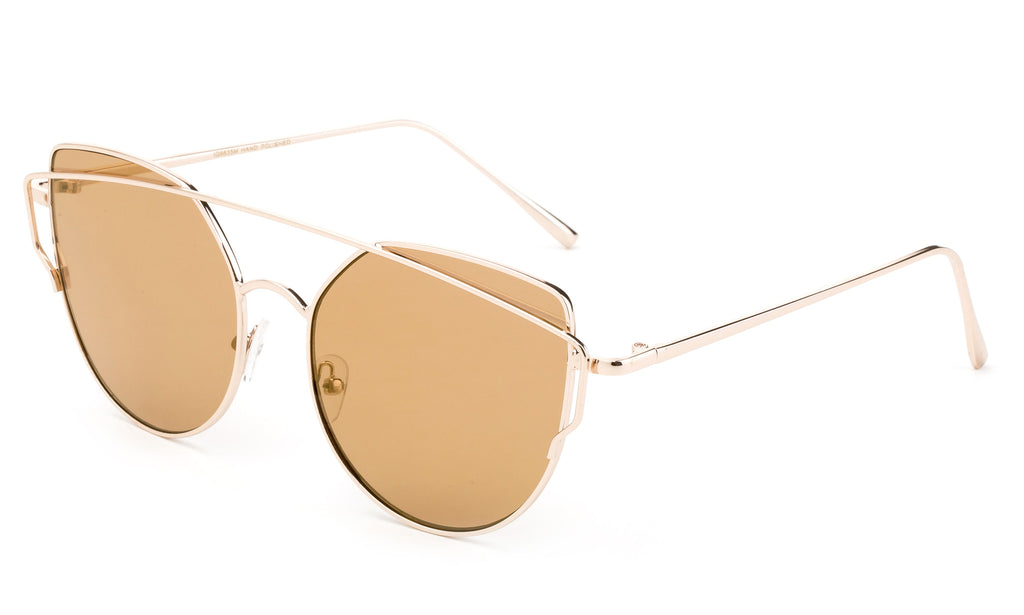 Modern Geometric Aviator Inspired Cat Eye Sunglasses with a Gold Metal Frame and UV 400 Protected Brown Flash Lens.